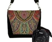 Bohemian Paisley Medium  Camera Bag Dslr Camera Case Bag Deluxe Model red purple teal RTS