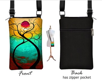 MadArt Fabric iPhone 7 case, iPhone 7 Plus Cell Phone Purse, Small Crossbody Bag, Twisting Love, tree moon black red turquoise  RTS