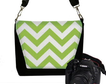 CLEARANCE Chartreuse Chevron Camera Bag Digital Slr Camera Bag DSLR Camera Bag Purse Womens Camera Bag Case lime green chevron RTS