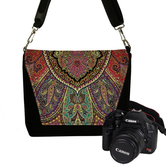 Bohemian Paisley Medium  Camera Bag Dslr Camera Case Bag Deluxe Model red purple teal  RTS