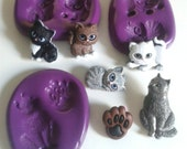 Cats Silicone Multi Mould - Highly Flexible - Sugarpaste, Fondant, Fimo, Icing, Clay