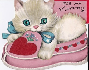 Vintage 1960's For My Mommy Kitten Valentines Greetings Card (B7)
