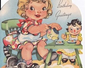 Vintage 1948 Little Girl's Tea Party Happy Birthday Greetings Card (B15)