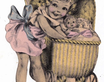 Vintage 1930's Little Girl Pram and Doll Piece of Greetings Card (B16)