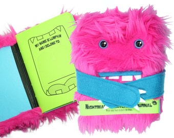 Nightmare Snatcher children's fuzzy journal, Lumpkin the pink and blue magical monster book