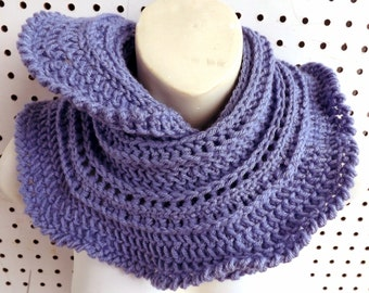 Periwinkle Spring Crochet Infinity Cowl Scarf, Miniruffle Periwinkle Blue Scarf, Infinity Scarf, Crochet Scarf, Womens Scarf, Spring Scarf