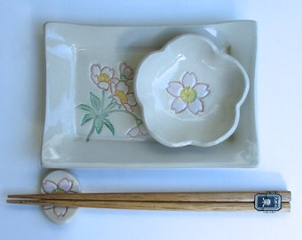 Ceramic Sushi Set, Footed, Handmade and Hand painted, Pink Sakura