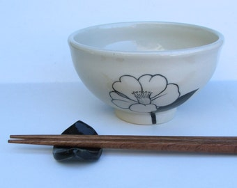 Ceramic Rice Bowl with Chopsticks and Chopstick Rest, Camelia, Wheel Thrown and Hand Painted