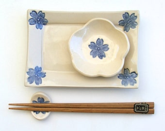 Ceramic Sushi Set, Footed, Handmade and Hand painted, Sakura