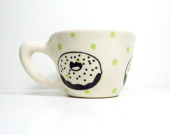 12oz cup with a donut on polkadots. Made to Order / Pick Your Colour