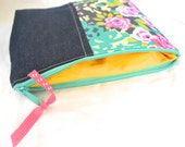 Zipper Pouch Make up Cosmetic Bag Purse Organizer - Denim with Aqua PInk Yellow Floral
