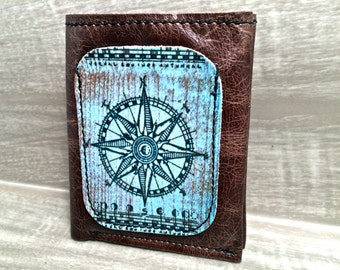 Leather Billfold Wallet (Zipper Pocket) in Compass Digital Photo Print, Brown * SALE * Coupon Codes