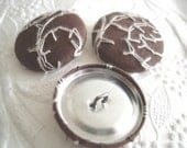 Fabric covered buttons - set of 3 - 1 1/8 inch -  brown with ivory scroll embroidery