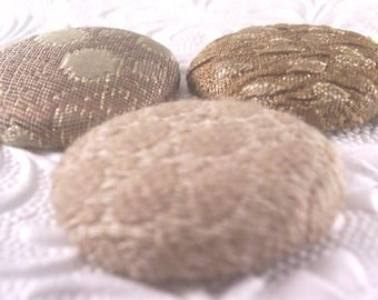 3 bronze buttons, fabric buttons, covered buttons, textured buttons, 1.5 inch button, size 60 buttons
