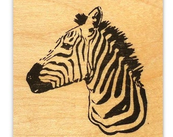 ZEBRA Bust Africa mounted rubber stamp, safari, African expedition, Serengeti, Sweet Grass Stamps No.17