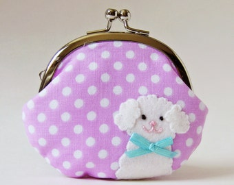 Dog coin purse, change purse, clasp purse - white fluffy puppy dog orchid polka dots pastel lavender purple blue pink kiss lock purse