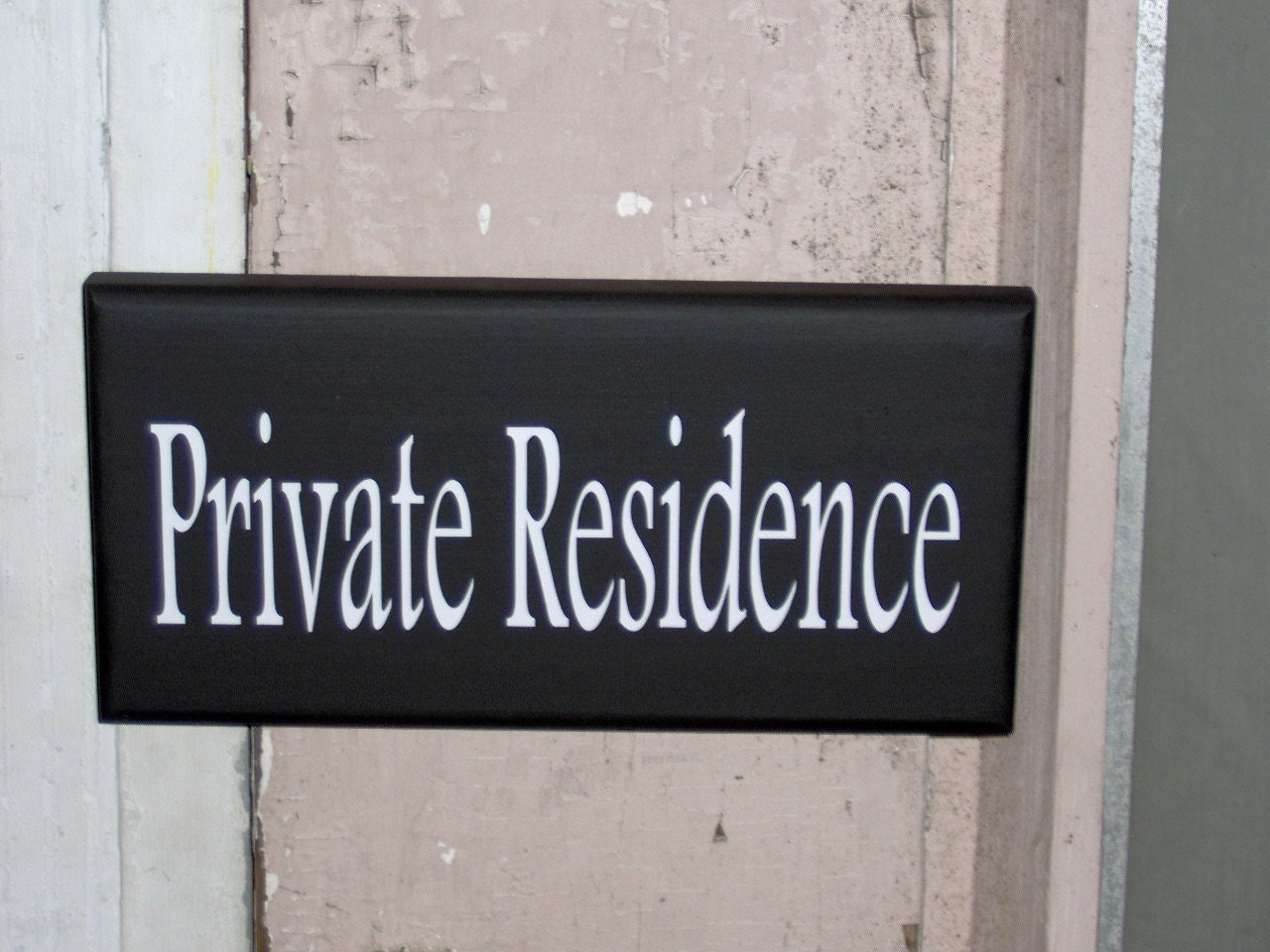 Private Residence Wood Vinyl Sign Whimsical Home Living Decor