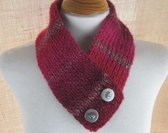 Cherry Pink Silver Knit Button Scarflette