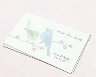 Save the Date Cards  Wedding Invitation  Wedding Card  Modern Wedding  Love Birds Save the Date  Mint and Blue  SD6