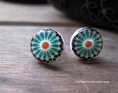 Moroccan tile design post earrings, Islamic art jewelry, Arabic and Middle Eastern Jewelry, stud earrings