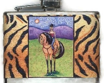 Cowgirl Flask, Woman Horse Flask, Equestrian Gift, Quarter Horse Flask, Bridesmaid Gift, Country Wedding Gift, Birthday Gift for Her, SHANO