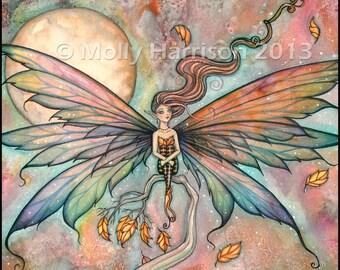 Autumn Upgust - Fairy Fantasy Fine Art Illustration Watercolor Giclee Print 9 x 12  by Molly Harrison Fantasy Art