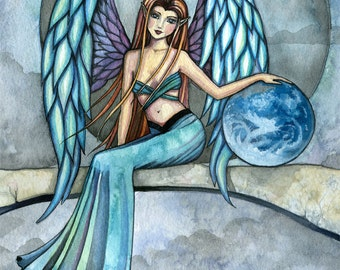 Earth Guardian - Angel Illustration Fantasy Fine Art Giclee Print by Molly Harrison 9 x 12