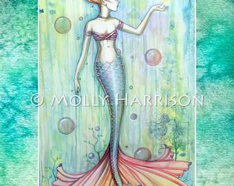 Bubbles - Mermaid Watercolor Fantasy Illustration - 12 x 18 Fine Art Giclee Print by Molly Harrison