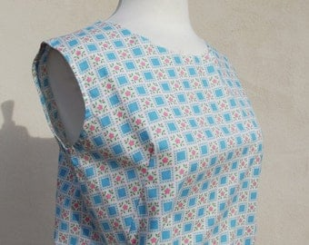 Vintage Dress - Handmade 60s Shift Dress in geometric pattern with blue squares and pink flowers