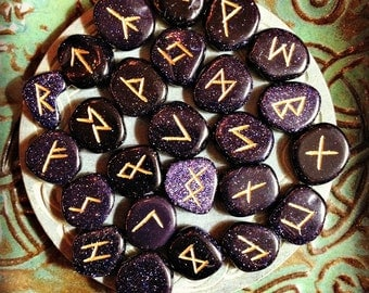 Blue Goldstone Runes Rune Set gemstone divination tool with pouch and instructions