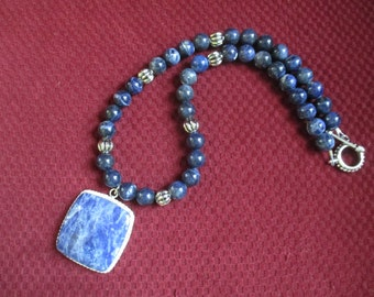 True Blue - sodalite pendant necklace, denim blue beads, large blue pendant