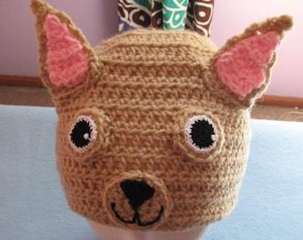 Crochet Pattern - Chihuahua Hat - Animal Hat Pattern - Dog Lover Gift - Dad Hat - Women's Hat - Chihuahua Pattern - PDF - Digital Download