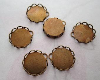 18 pcs. raw brass 9mm lace edge cabochon settings - f4520