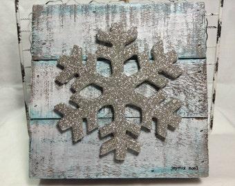 Joyeux Noel mixed media wood wall hanging