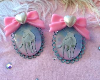 Pretty Unicorn Large Cameo Earrings