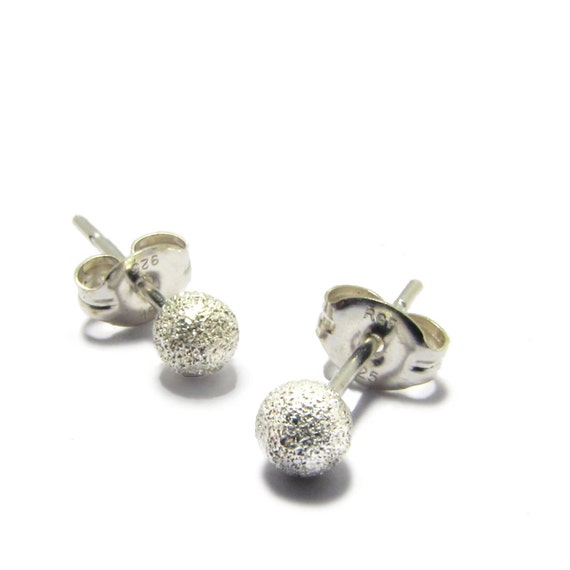 Lava Studs  - Post Earrings Sparkle in Sterling Silver with Silver Posts by Queens Metal