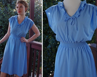 Sky BLUE 1970's Vintage Light Blue Sleeveless Secretary Dress with Ruffled Collar + Ruched Waist // size Small / Made in California