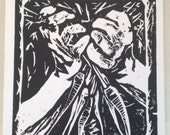 SALE Harvest Wood Block Print