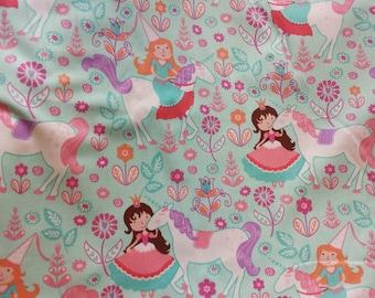 "34"" END Of BOLT SALE Michael Miller Unicorn Princess in Seafoam Quilters Cotton"