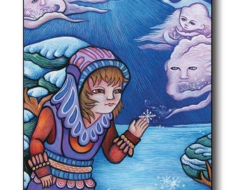 "Postcard based on the painting ""Snowy Gift"" by Poxodd. 6"" X 4""  Unique winter scene with a girl recieving a gift of a snowflake."