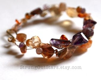 Goddess of Fire - Strung-Out guitar string bracelet with mossy amethyst and mexican fire opal