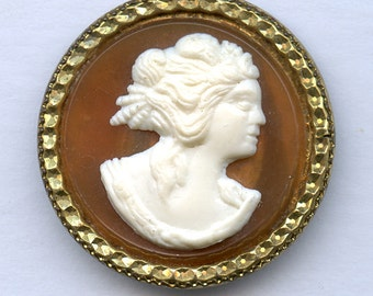 LARGE Plastic Cameo Buttons set in Brass 1 1/4 inch size 9724