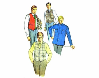 1960s Mens Shirt and Reversible Vest Simplicity 7973 Vintage Sewing Pattern Chest 42