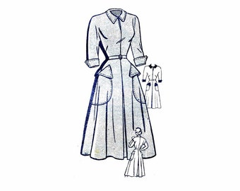 1940s Flared Dress with Pockets Marian Martin 9203 Vintage Sewing Pattern Slit Neckline Kimono Sleeves Gored Skirt Wing Cuffs Bust 29