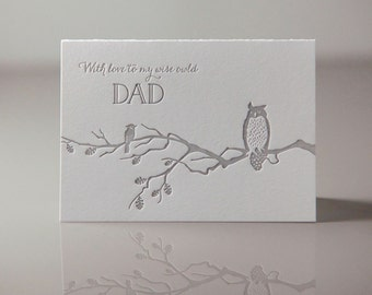 With Love to my Wise Owl'd Dad Card - Wise Owl in a Tree Card - Dad Birthday Card - Everyday Dad Card - Fathers Day Card - Letterpress Cards
