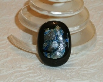 Black Fused Glass Adjustable Ring With Blue and Silver Dichroic
