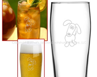 Dachshund Satin Etched Drinking Glasses Set of 2