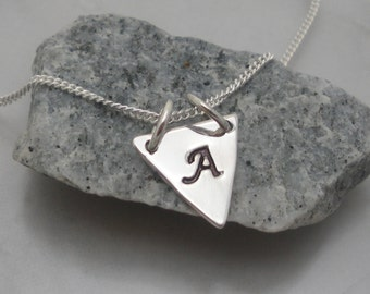 DaintyTriangle Necklace  Layering Necklace Initial Triangle Charm Geometric Jewelry Sterling Silver Personalized Hand Stamped (SN869)