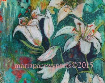 Lilies- mixed media painting by Maria Pace-Wynters