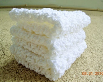 Set of 3 Crochet Dishcloths -washcloths- face cloths